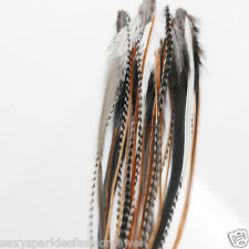25 NATURAL LONG MIX WHITING GRIZZLY SADDLE FEATHER HAIR EXTENSIONs