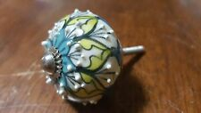 Hand-made Hand-painted Ceramic Drawer Knob - White with flower design - S14