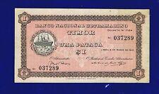 TIMOR 1 PATACA 1945 P15 VERY FINE RARE GRADE 037289 CL-1