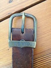 Vintage Levis Brown Distressed Thick Leather Belt Removable Buckle 38.5""