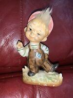 Vintage Ceramic Porcelain Figurine Little Boy Fuzzy Hair Freckles Japan Statue