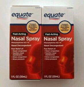 2PK Equate Fast Acting 4-Way Nasal Spray Phenylephrine HCl EXP5/22 SAME-DAY SHIP
