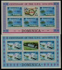DOMINICA - 1974 'CENTENARY OF UPU' Miniature Sheets x 2 MNH [C0570]