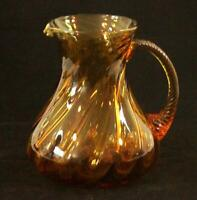 Vintage Hand Crafted Blown Amber Swirl Pitcher with Swirl Handle 7.5″ Tall
