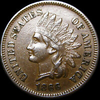1866 Indian Cent Penny  --- RARE Nice Condition  ---  #A817