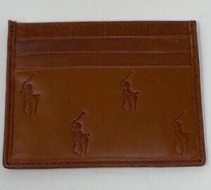 NEW Polo Ralph Lauren Mens Multi Pony Logo Leather Card Case Beige