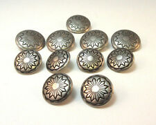 VINTAGE PEWTER COLORED FLOWER ETCHED METAL BUTTONS LOT OF 11 *