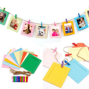 10x Paper Photo Set DIY Wall Picture Wood Rope Album Frame Hanging Clamp Clips