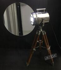Silver LED Mini Small Desk Table Lamp Searchlight Vintage Spot-Light Tripod Deco