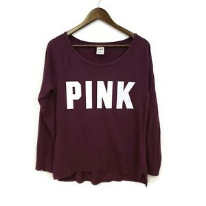 Pink by Victoria's Secret Womens Maroon Long Sleeve Graphic Shirt Size M Cotton
