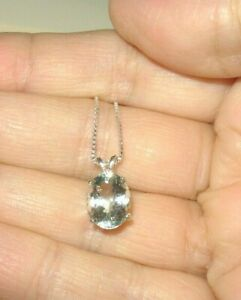 AQUAMARINE NECKLACE EARTHMINED BIG 11x9MM GEM PENDANT US MADE SILVER CHAIN ITALY