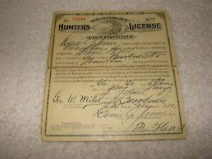 1910 Indiana Resident Hunter's License