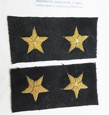 Pr Antique Vintage Gold Metallic Bullion Navy Stars on Wool Felt Insignia