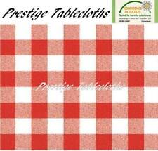 Red Gingham Check PVC Vinyl Wipe Clean Tablecloth - ALL SIZES - Code: F107-1