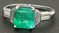 Platinum 2.39CTW VS1/F diamond & 7.3 X 6.8mm emerald cocktail ring size 5.25