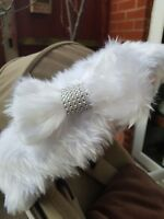 Fur Bow with Diamante Effect for Hood Fur Trim Accessories Pram Buggy Hot Pink
