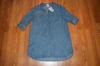 NWT Womens Philosophy Blue Chambray Pocket Shirt Tunic Dress Shirt Size Large