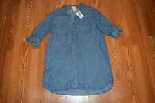 NWT Womens Philosophy Blue Chambray Pocket Shirt Tunic Dress Shirt Size L Large