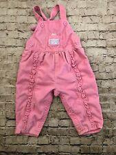 Vtg Osh Kosh B'Gosh Infant Vestbak Overalls Teddy Bear 24 Mos. Bunny Pink Usa
