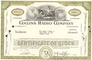 Collins Radio Company > 1960s Iowa Space Race Rockwell Collins stock certificate