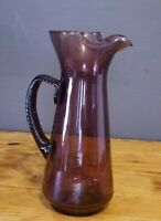 Vintage Amethyst Pinched Spout Pitcher Twisted Applied Handle