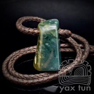 Blue Jade Pendant - Freeform Guatemalan Jadeite on Leather Cord - JCC001