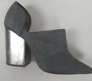 Jeffrey Campbell Grey Cusack Suede Metal Heel Boots Sz 38
