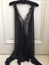 Victoria's Secret Black Sheer Chiffon Camisole  Adjustable - size L UEC