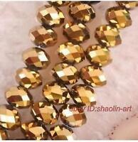 100pcs, jaune d'or, cristal, pierres précieuses, lâche, perles, 4x6mm