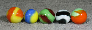 """GROUP OF 5 AKRO  AGATE CORKSCREW  MARBLES 5/8"""" - 11/16""""   NM+/M-"""
