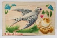 HEAVY EMBOSSED BIRD IN FLIGHT POSTCARD GERMANY BIRTHDAY GREETINGS UNPOSTED