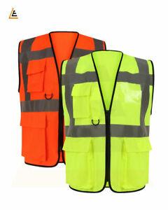 Hi Vis Viz Vest High Visibility Waistcoat With Phone & ID Pockets Orange Yellow