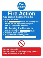 Fire Action Notice Sign 150mm x 200mm Rigid Plastic (ACT-09W)