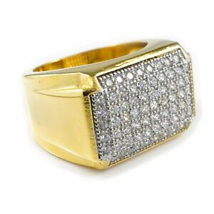 18K IP Gold Stainless Steel Simulated Diamond Band Micropave Mens Pinky Ring NEW