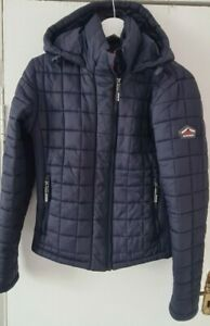 Womens Navy Blue Quilted Superdry Coat Size L