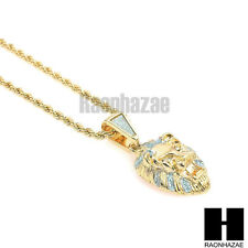 "HIP HOP ICED OUT GOLD MICRO LION FACE PENDANT w/ 24"" ROPE CHAIN NECKLACE KN014"