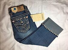 NWT - Womens LA IDOL Capri Stretch Thick Stich Pocket Flaps Blue Denim - Size 1