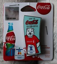 Day 15 Bottle set 26 feb  AUTHENTIC Coca cola  Vancouver 2010  Olympic PIN NEW