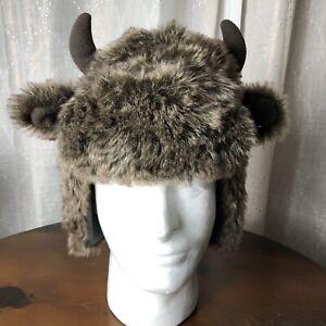 Baby Gap Fuzzy Faux Fur Hat Buffalo Horns Toddler Size S-M Gray / Brown EUC