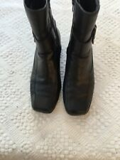 CLARKS Ladies Black Leather Wedge Heel Ankle Boots Size EU 38 UK 5 Well Worn *