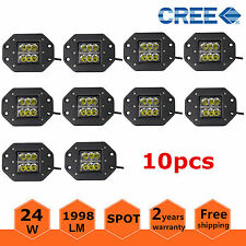 10X 24W CREE SPOT LED Cube Pods Work Light Flush Mount Offroad Truck Jeep Bumper