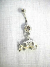 WILDLIFE 3D ARMADILLO CHARM 14g CLEAR CZ NAVEL BAR BELLY RING COUNTRY ANIMALS