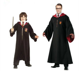 Harry Potter Adult Kids Gryffindor Robe Glasses Tie Wand Costume Cosplay Party