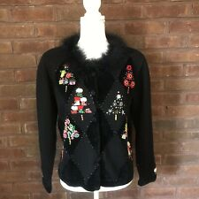 Jack B Quick Holiday Sweater M Black Beads Sequins Candy Trees Christmas