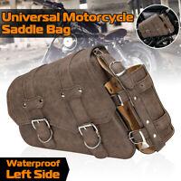 Left Motorcycle Side Saddlebag Luggage & Bottle Holder Brown For Harley Davidson