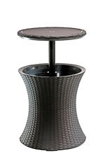 Keter 7.5-Gal Cool Bar Rattan Style Outdoor Patio Pool Cooler Table, Brown