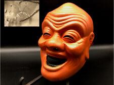 Japanese vintage pottery okina Signed /Antique hannya noh old men 3