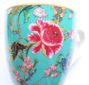 Pink Floral Mug Light Blue Background Fine China - Comes Boxed 11.5 CM