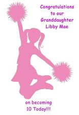 Personalised A5 Cheerleading Birthday Card Any Age Relation Daughter Sister Pink