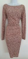 Womens Lk Bennett Blush Pink Animal Leopard Ruched Pure Silk Bodycon Dress 10